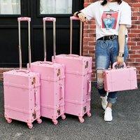 Léinasen Haute Qualité Bag de chariot en cuir PU, Jolie valise vintage rose complète pour femme, cadeau de bagages rétro