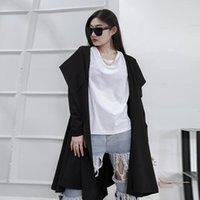 Women's Trench Coats Fashion Big Dark Yamamoto Turtleneck Hooded Loose Mid-length Coat Female Black Dress Style
