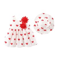 Clothing Sets 2021 Baby Girls Party Dresses Summer Casual Beach Bow Flower Print Sundress Kids Princess Dress+Hat Set Outfit