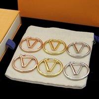 2022 Gold Hoop Dangle Boucles d'oreilles pour Lady Femmes Party Lovers De Mariage Gift Engagement Bijoux Bijoux Mariée 4cm