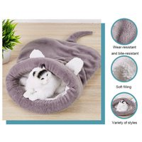 Cat Beds & Furniture Warmer Bed Kitten Sleeping Bag Nest Soft Semi-closed Winter Kennel Comfortable Puppy Cats House Cushion Pet Supply Drop