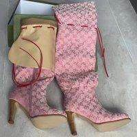 Stivaletti al ginocchio da donna Designer Scarpe originali Tacco alto Beige Pink Stampato Tela sopra il ginocchio Boot Genuine Pelle Zipper Lacci Lacci Casual Shoe Dimensione 35-42 NO317