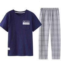 Yeni Ekip Boyun Ekose Baskı Çin Pijama Rahat Tarzı Erkek Pijama Pijama Seti Anasayfa Homeclothes Moda Stil Pijama