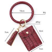 Bracelet Keychain Wallet Leopard Snake PU Leather Tassel Women Card Bag Women Clutch Wristlet Keyring LLE6608