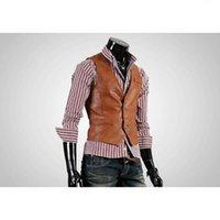 Men's Suits & Blazers Leather Vest High Quality Fashion Chaleco Hombre Casual Brown Suit Slim PU 7AOD