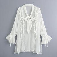 Women's Blouses & Shirts ZOEPO Casual V Neck Women Fashion Cascading Ruffles Bow White Elegant Loose Thin Tops Female Ladies GY