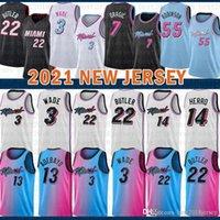 2021 New Basketball Jersey MiamiHitzeHerren Dwayne Dwyane 3 Wade Jimmy 22 Butler Tyler 14 Herro Bam 13 Adebayo Lavendel