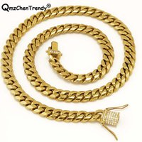 15mm 22inch 24inch 30inch Men Cuban Miami Link Necklace Stainless Steel Rhinestone Clasp Iced Out Gold Hip Hop Chain Chains