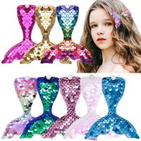 Sequins Mermaid with Clips Hairpins Baby Girl Kids Fashion Cute Hairclips Barrettes Head Wear Hair Accessories for Children