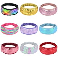 Girl Baby Hairband Glitter Women Headbands Reversible Sequins Flip Discolored Fish Scale Head Hoop Hip Hop Hair Accessories 21 color