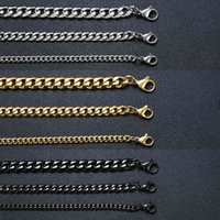 VNOX Hommes Simple 3-11mm En acier inoxydable Link Colliers Chaîne pour bijoux Mâle Bijoux Solide Or Black Ton Cadeaux Miami Curb Chaîne