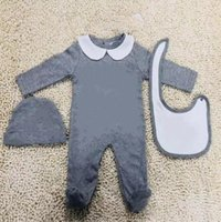 Newest Designer Baby Clothes Set Cute Newborn Infant Baby Boys Letter Romper 100% Cotton baby girl Jumpsuit + bibs + Cap Outfits Set