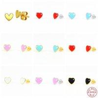 Stud Aide 925 Sterling Silver Red Blue Purple Enamel Heart Shape Earrings For Women Girls Gift Cute Tiny Candy Color Ear Studs
