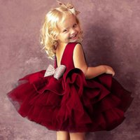 Flower Girls Dress for Birthday Wedding Party Kids Boutique Clothes 0-6Y Children Sleeveless Dresses with Sequin Bow