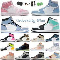 1s أحذية كرة السلة الرجال النساء 1 Hyper Royal University Blue Digital Pink Wissless High og Twist Chicago UNC White Island Green Off Trabers Trainers Sneakers