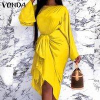 Casual Dresses Long Sleeve Office Ladies Dress 2021 VONDA Women Sundress Belted Sexy Package Hip Clubwear Vestidos Oversized Robe