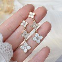 Romântico 14k real concha ouro prisioneiro brincos japonesakorea jóias delicadas zircão longo para mulheres