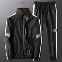 رياضية الرجال رياضية الجانب شريط عارضة ربيع الخريف الركض دعوى 2 قطعة مجموعة تشغيل الرياضة ارتداء ملابس تجريب خفيفة الوزن
