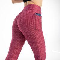 Roupa de ioga empurrar leggings anti celulite cintura alta esporte mulheres seqüestrados fitness yaga calças femininas pescadores com bolso