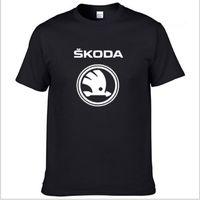 Erkek Kısa Kollu Skoda Araba T-Shirt Yaz Rahat Erkek Katı Renk Pamuk T Shirt Moda Hip Hop Harajuku Erkekler CLO