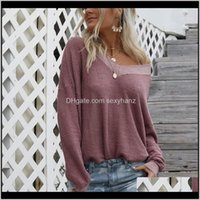 Sweaters Womens Clothing Apparel Drop Delivery 2021 Autumn Winter Sexy Off Shoulder Sweater Women Long Lantern Sleeve Pullovers Knitted Ladie