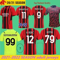22 22 AC Milan Futebol Jerseys Ibrahimovic 2021 Kessie Theo Mandzukic Camisa de Futebol Rebic Donnarumma Goleiro Jersey Tonali Maglia da Calcio
