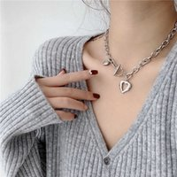 LOVOACC Metallic Love Heart Chokers Necklaces for Women Mujer Chunky Linked Circle Chain Toggle Clasp Pendant Necklace Jewelry Y0528