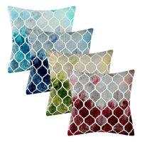 """18x18 """"pintado à mão retrô colorido flanela flanela pillowcases folhas de travesseiro decorativo capa de almofada de sofá"""