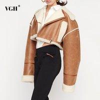 Women's Jackets VGH Korean Fashion Patchwork PU Leather Colorblock Jacket For Women Lapel Collar Long Sleeve Zipper Coats Female Winter Clot