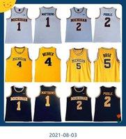 NCAA Michigan Wolverines 5 JALEN Gül Jersey Chris Webber 4 Juwan Howard 25 1 Charles Matthews 2 Jorda Poole Koleji Basketbol Sarı Erkekler Atletik Açık Giyim