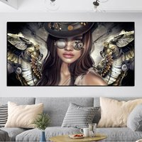 Canvas Painting Steampunk Angels With Glasses Sexy Women Girl Portrait Posters And Prints Wall Pictures For Living Room Decor