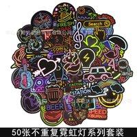 Magnete Impermeabile Graffiti Neon Stickers Bar Segno di barre Decalcomanie per Party Car Personalizzato Cartoon Moto Creativo Creativo Computer Skateboard Trolley Portagli bagagli 50pcs