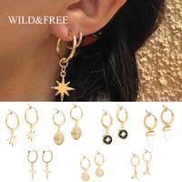 yutong wildfree vintage esmalte redondo brincos de aro para mulheres meninas pequenas aros estrela cruz charme piercing jóias oorbellen