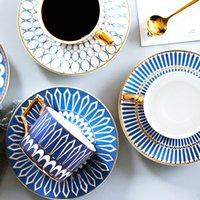 Luxo Inglaterra estilo porcelana café xícaras de chá pires com borda de ouro
