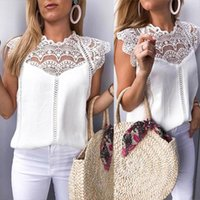 Blusas Roupa Feminina Tops And Blouses Lace Patchwork Sleeveless Solid Shirt Women Blouse Summer 2021 Womens