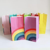 Kraft Paper Rainbow Bags Treat Kids Birthday Cookie Bag Christmas Party Supplies 40pcs lot Gift Wrap