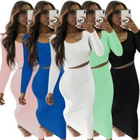 Women's Tracksuits Women Set Solid Long Sleeve Crop Tops Stretchy Skirts Two 2 Piece Sets Casual Fashion Outfit Summer