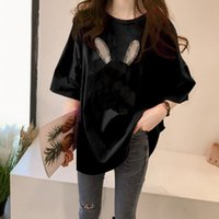21 large size drilling t-shirt fashion sanded short-sleeved round neck loose cotton women's clothing