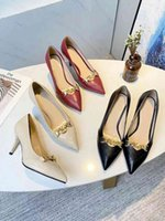 Women High Heels Gucci Dress Shoes Fashion Sexy Wedding Pointed Rivet Slippers Available in a variety of Sandal Colors With box size 35-40 7.5cm #20