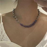 Collares colgantes Origen Declaración de verano Multi-capa Chokers de cristal púrpura Collar para mujer Cadena Chunky Braiding Knot Jewellery
