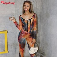 Plugalong Mesh See Through Women Jumpsuits And 2 Piece Pant Sets Sexy Fishnet Bodysuits Long Sleeve Streetwear Clubwear Outfits Women's Trac
