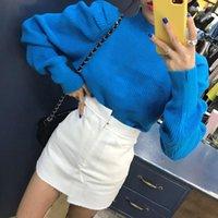Женские свитеры Womengaga Корейский рухнутый вязаный вырезом слойки с длинным рукавом негабаритные пуловер свитер женское 2021 осень мода xx188