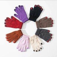 Japanska ins personliga nagellackhandskar kvinnor vinter tjockna varm körning koreansk söt femfinger ullgarn handskar
