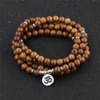 Multilayer 108 Träpärlor Armband Tibetansk Buddhist Charm Rosary Armband Trä för Kvinnor Män Smycken