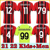 21 22 Ventiladores Versão AC Futebol Milão Milão Ibrahimovic Jerseys 2021 Tonali Mandzukic Kessie Brahim Bennacer Theo Rebic Leaoas Homens Kid Sets Socks Kits de Futebol