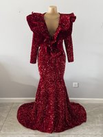 Mulheres Sparkly Mulheres Vestidos De Prom Real V-Neck Sem Mangas Sereia Ruffles Borgonha Lantejoula Africano Meninas Pretas Vestido De Noite