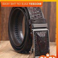 crocodile automatic buckle black cow leather crocodile-print high-grade fashion personality business belt J1223