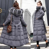 Women's Down & Parkas winter long down to casual coats thick zipper cotton quilled jacket ladies solid fur collar parka outerwear 9SYQ