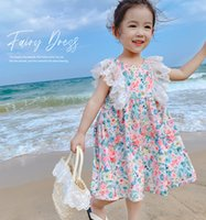 Kids floral printed princess dresses girls splicing lace gauze embroidery falbala fly sleeve dress summer children beach holiday clothes Q0275