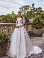 Bianco Elegante A Vestito maniche lunghe a maniche lunghe, maniche trasparenti, abiti da sposa rustici romantici raso Minimalism Minimalismo Abiti da ballo